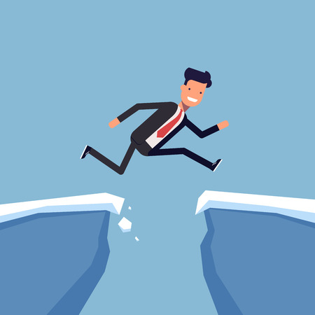 Businessman or manager jumping over a precipice. Overcoming obstacles. Man in business suit is moving towards success through difficulties. Vector, illustration EPS10 Illustration