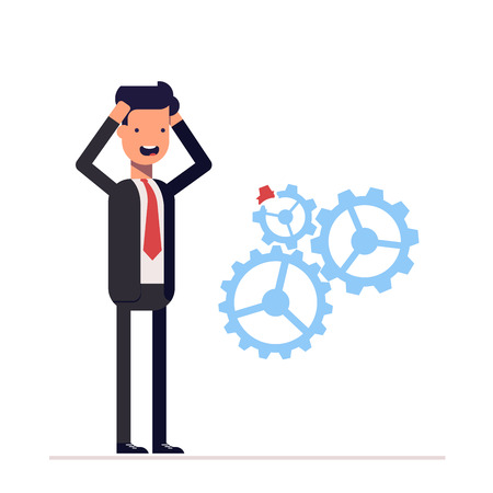 Man in business suit discovered damage to the mechanism gears. Businessman found an error. Scared manager kept hands behind his head.
