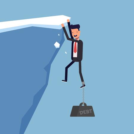 brink: Businessman pulling down financial debt. Man in a suit on the brink. Vector, illustration EPS10
