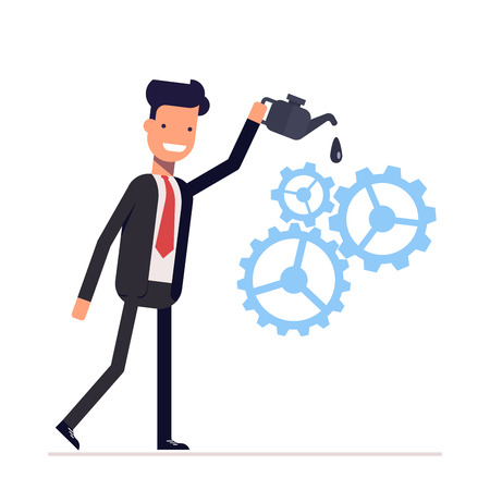 Man in suit lubricates the gear mechanism oil. The debugged work. Vector, illustration EPS10 Illustration