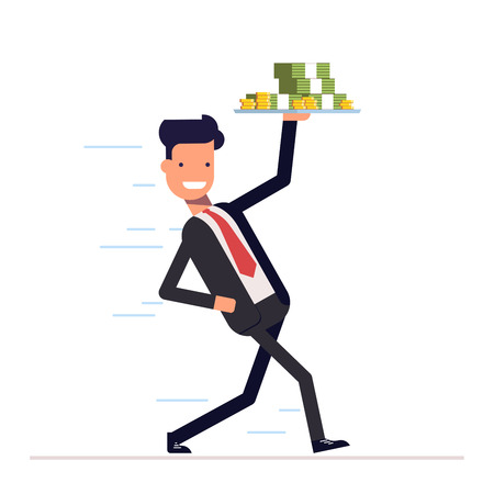 promptly: Businessman or manager promptly comes with a tray and money in hand. Joyful young man running in a business suit. Illustration