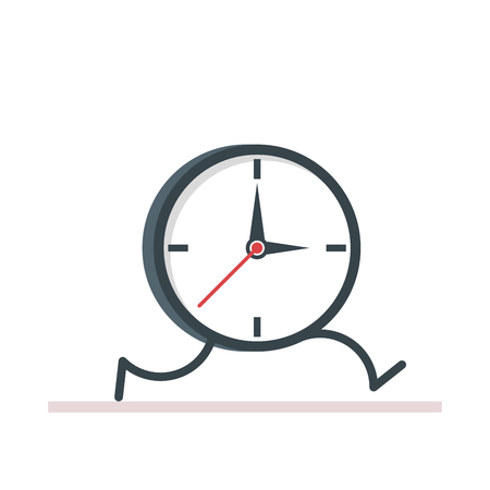 Cartoon clock running. Flat vector, illustration isolated on white background EPS10