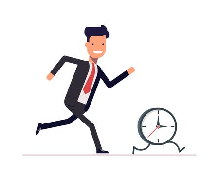 사업가 또는 관리자는 시계를 실행합니다. 남자는 시간과 속도를 유지하지 않습니다. 놓친 기회를 잡기 위해 노력.