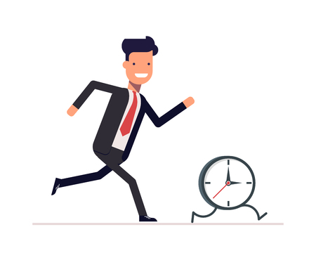 Businessman or manager runs the clock. A man does not keep pace with the times. Trying to catch up with the missed opportunities. Stock Illustratie