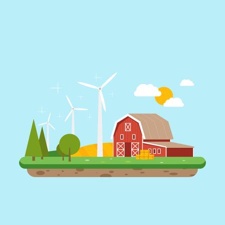 clean energy: Clean energy in rural areas. Farm barn near trees and wheat field.