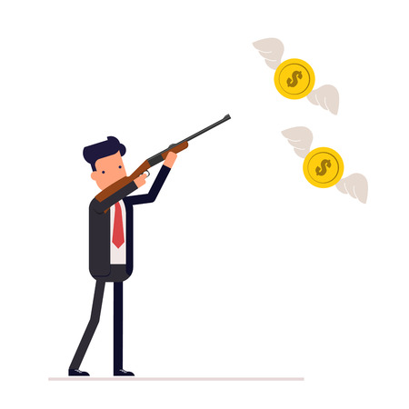 Businessman or manager with a gun to hunt for flies on the wings of money. The use firearms. Dollars in the form butterflies. Vector, illustration EPS10.