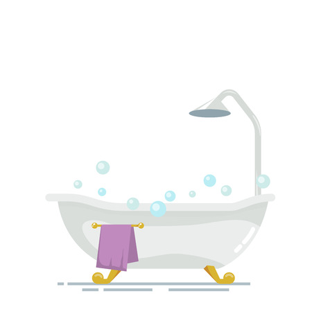 Bathroom with shower isolated on white background. Soap bubbles or foam. Purple golden towel a hanger. Vector, illustration EPS10. Illustration
