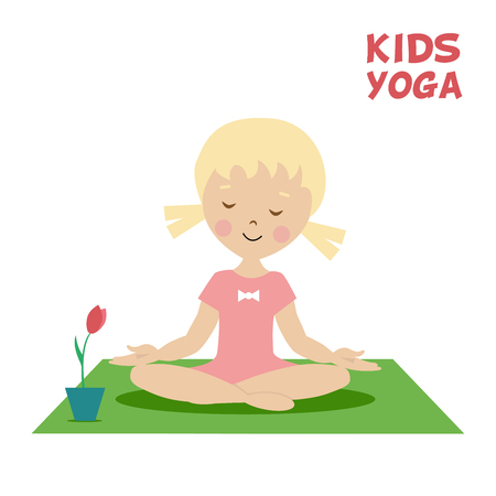 yoga girl: The child is engaged in kids yoga. Little girl exercise on the green carpet near a flower. Cartoon flat character isolated on a white background. Vector, illustration EPS10.