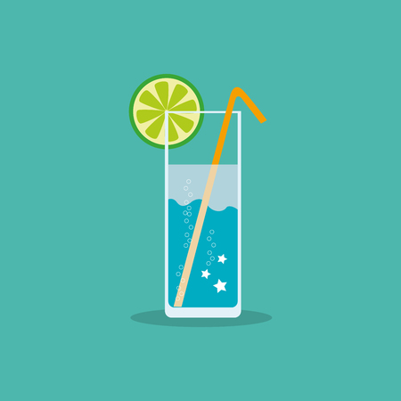 Refreshing non-alcoholic or alcoholic drink with a slice of citrus and straw in a flat style. Vector, illustration EPS10.