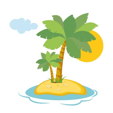 island paradise: Paradise Island in the sea with palm trees and sunshine in a flat style isolated on white background. Vector, illustration EPS10 Illustration