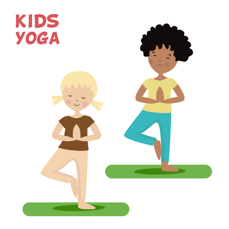 Girl and boy are engaged in a kids yoga. Sports or exercise. Cartoon flat character isolated white background. Vector, illustration EPS10