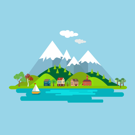 fishing village: Natural landscape with houses on a background of forest and lake Mountains. Isolated on white background. Vector, illustration EPS10. Illustration