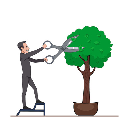 mows: Businessman mows scissors large money tree. Receiving dividends or profits. Isolated on white background. Vector, illustration EPS10.