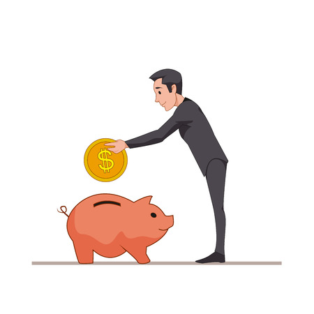 Businessman or manager puts a gold coin into a pink pig piggy bank. Save money. Cartoon character isolated on white background. Vector, illustration EPS10.