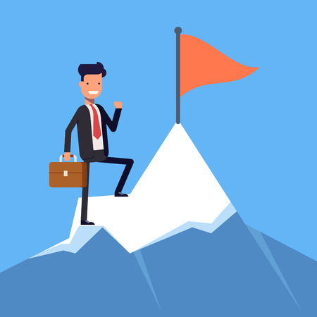 Businessman or manager with flag on a Mountain peak. Office worker, winner on top. Flat character isolated on white background. Vector, illustration EPS10.