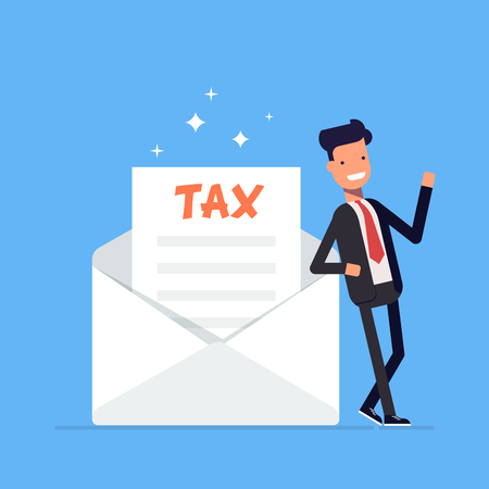 tax office: Businessman or manager stands near a refund letter to the tax form. Office worker character isolated on white background. Vector, illustration EPS10. Illustration
