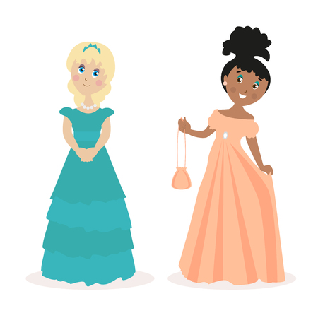 little one: Two girls in evening dresses. Female outfit for a holiday or outlet. Flat character isolated on white background. Vector, illustration EPS10. Stock Photo
