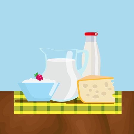 Set of fresh dairy products from the farm. Natural healthy food. Flat vector illustration, EPS10. Stock Photo