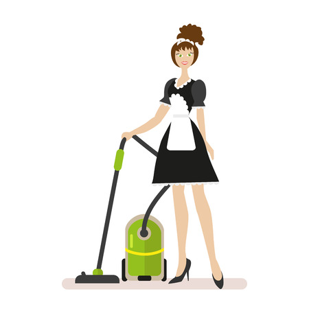Housekeeper with a vacuum cleaner in working clothes isolated on white background. Flat character isolated on white background. Vector, illustration