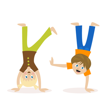 Boy and girl standing upside down on their hands. Children having fun or athletics. Morning exercise or playing sports. Flat character isolated on white background. Vector, illustration EPS10.