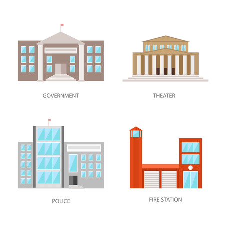 courthouse: Set of urban buildings in a flat style. Government building, theater, police and fire station. Vector, illustration isolated on white background EPS10.