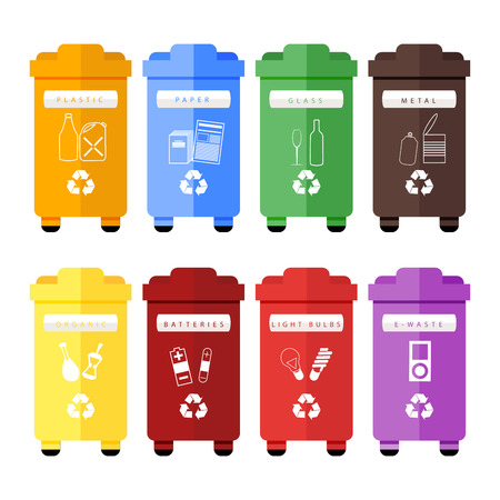 e waste: Vector set of colorful trash sorting bins for plastic, paper, glass, metal, organic, batteries, light bulbs and e-waste. Recycling for household and city street, hand sorting method for recycling.