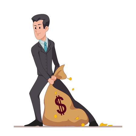 Businessman or manager drags a bag full of money. Flat character isolated on white background. Vector, illustration EPS10.