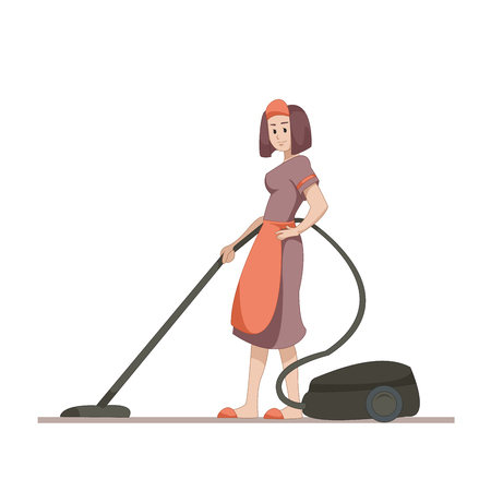 housekeeper: Housekeeper or housewife makes home cleaning with a vacuum cleaner.
