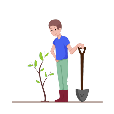 The guy with a shovel standing near the planted seedlings. Agricultural work. Flat character isolated on white background. Vector, illustration EPS10 Illustration