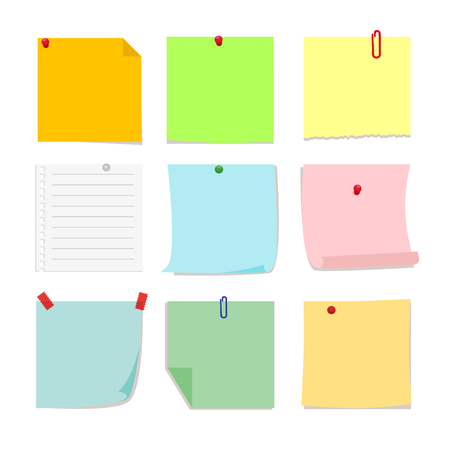 detachable: Set of detachable stickers paper notes. Vector, illustration in flat style isolated on white background EPS10