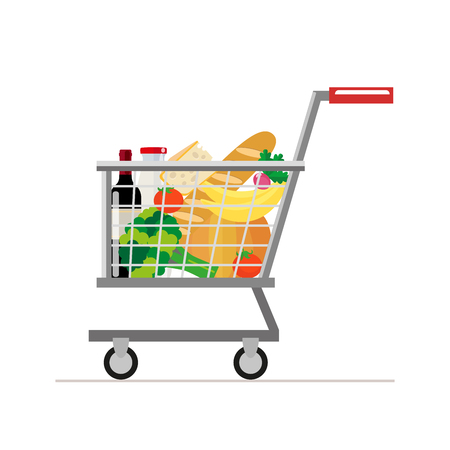 bread and wine: Trolley from the supermarket with food. Dairy products and wine, tomatoes and bread, vegetables and bananas. Vector, illustration in flat style isolated on white background EPS10