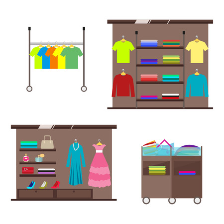 clothing rack: Set of counters and displays for interior decoration of clothes and accessories store. Vector, illustration in flat style isolated on white background Stock Photo