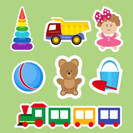 Set of stickers for decoration of children s rooms. Vector, illustration in flat style isolated on green background