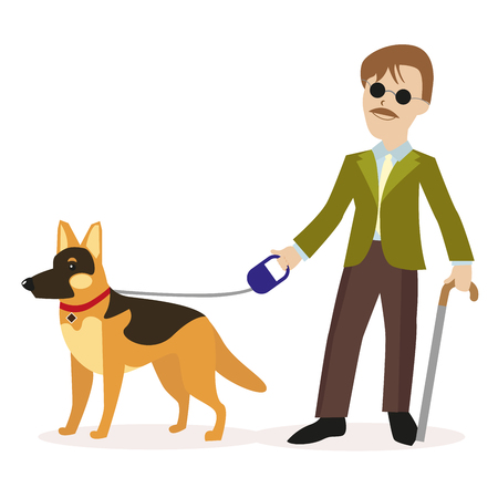 Blind man with guide dog.