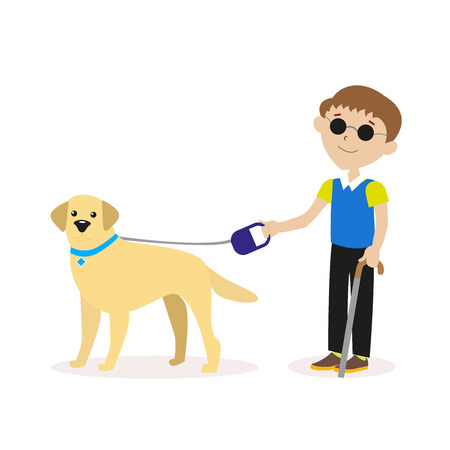 Guide-dog. Blind boy with guide dog. Disability blind person concept. Flat character isolated on white background. Vector, illustration EPS10.