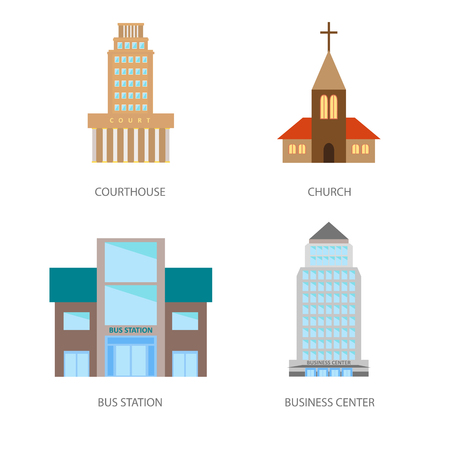 Set of urban buildings in a flat style. Courthouse, church, bus station and business center. Vector, illustration in flat style isolated on white background EPS10.