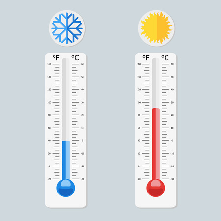 Celsius and fahrenheit meteorology thermometers measuring heat and cold. Vector, illustration in flat style isolated on grey background EPS10.
