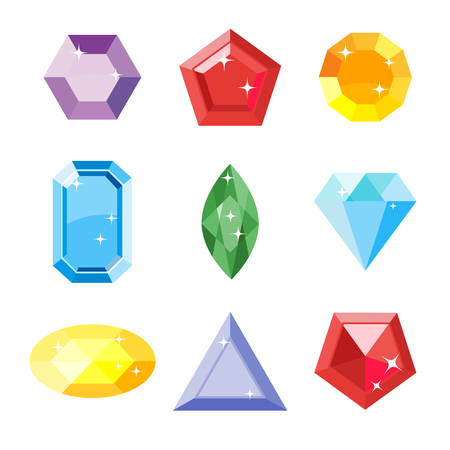 ruby: Gem set. Icon gem. Ruby, emerald, sapphire, diamond, brilliant, aquamarine different shapes, isolated on the white background. Vector jewels.