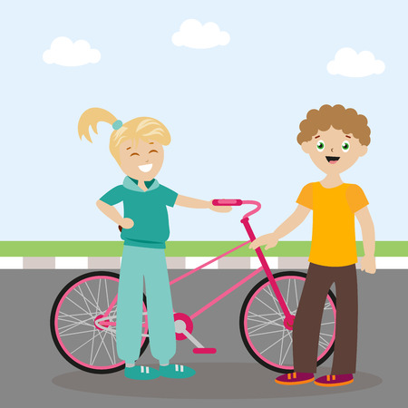 The guy and the girl are standing near the bicycle and are cute. Meeting friends. A new acquaintance. Flat character. Vector, illustration EPS10. Illustration