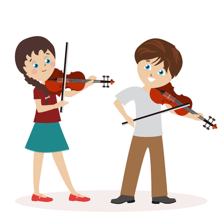 Boy and a girl are playing the violin.