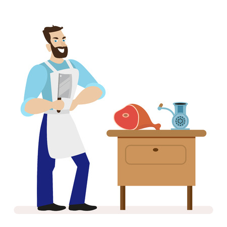 meat grinder: Butcher with a kitchen knife for cutting meat is near the table with a meat grinder. Illustration