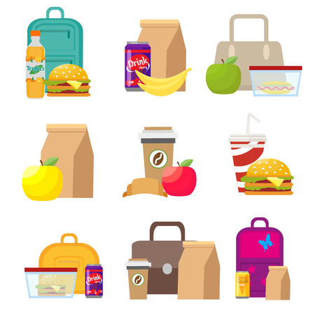 School lunch food boxes and kids bags. Illustration in flat style isolated on white background.