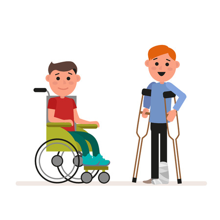 school: Special needs children or handicapped children. Boy is sitting in a wheelchair. Child is standing with crutches. Flat character isolated on white background. Vector, illustration EPS10.