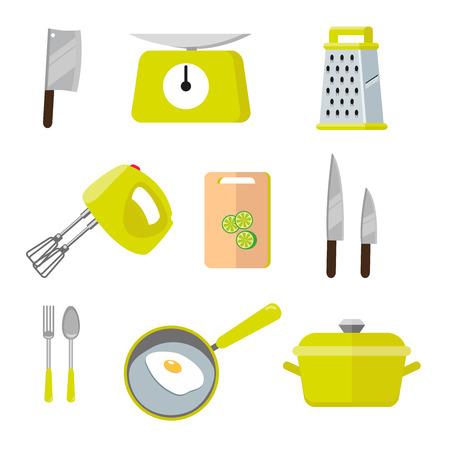 Herramientas coloridas de la cocina de la vendimia. Conjunto de herramientas para cocinar. Ilustración de vector de elementos de cocooking. Ilustración en estilo plano aislado sobre fondo blanco EPS10.