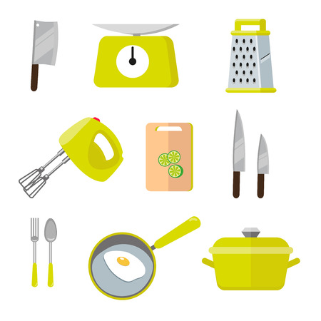 Vintage kitchen colorful tools. Set of tools for cooking. Vector illustration of cocooking elements. Illustration in flat style isolated on white background EPS10. Çizim
