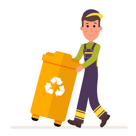 Garbage collection service. Man in a uniform takes out a container with garbage. Flat character isolated on white background. Vector, illustration EPS10.