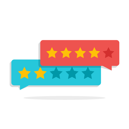 Concetto di feedback dei clienti. Valutazione sotto forma di stelle. Valutazione negativa o positiva. Finestra di dialogo per l'interfaccia nell'applicazione mobile o sul sito.