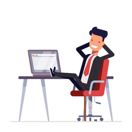 Businessman or manager sits in a chair, his feet on the table. Successful man having rest on workplace in office. Vector illustration