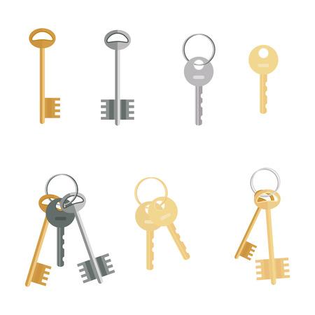 Keys set isolated on white background. Flat cartoon icons of door keys in a modern style. Illustration