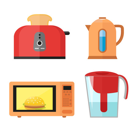 Kitchen equipment set isolated on a white background in a flat style for cooking breakfasts. Toaster with hot toast, electric kettle, microwave and water filter.